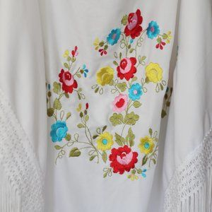 Accessories - Floral White Shawl